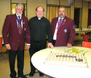 KOFC4949 Father Dale's 50th birhday, GK Guenter A. Rieger, Father Dale, Deputy Grand Knight Sal D'Agosto  2011